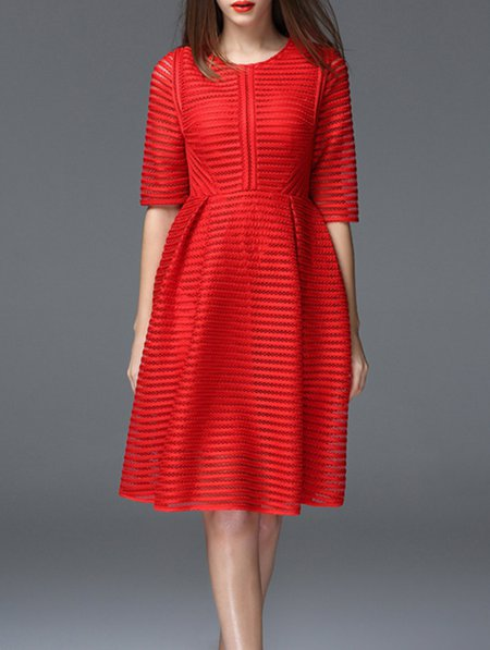 Red Plain Short Sleeve Midi Dress