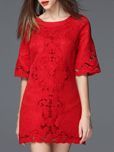 Red Bateau/boat Neck Short Sleeve Embroidery Mini Dress