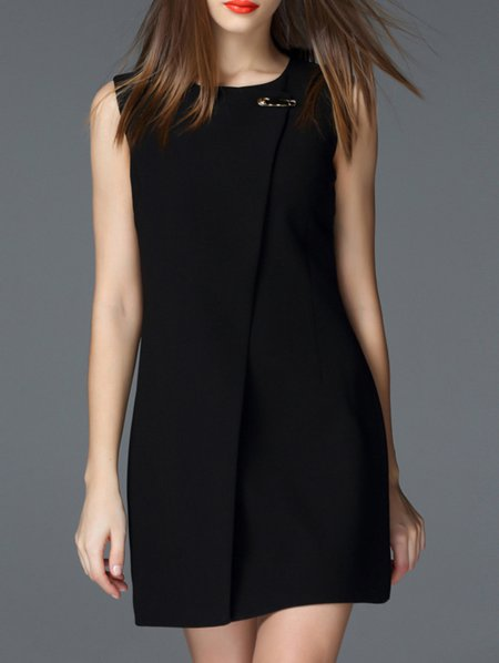 Paneled Simple Sleeveless Mini Dress