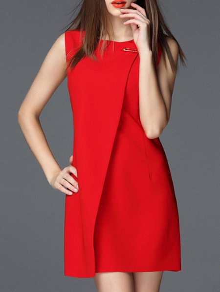Red H-line Sleeveless Bateau/boat Neck Mini Dress