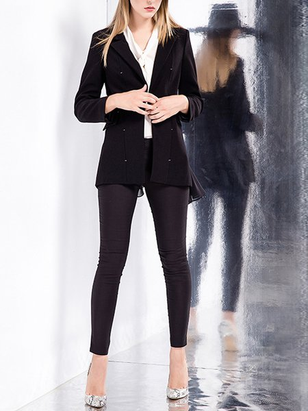 Black H-line Plain Work Lapel Blazer
