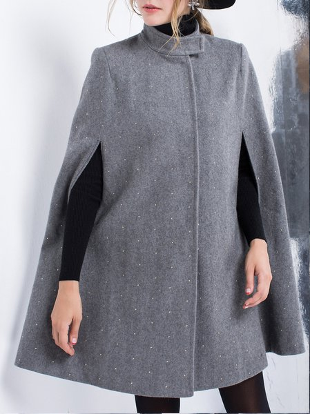 Gray Casual Stand Collar Wool Blend Plain Cape