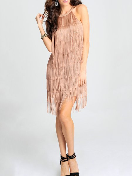 Nude Crew Neck Statement H-line Fringed Mini Dress