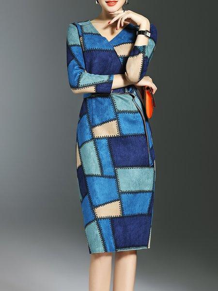 Blue V Neck Elegant Sheath Checkered/Plaid Midi Dress