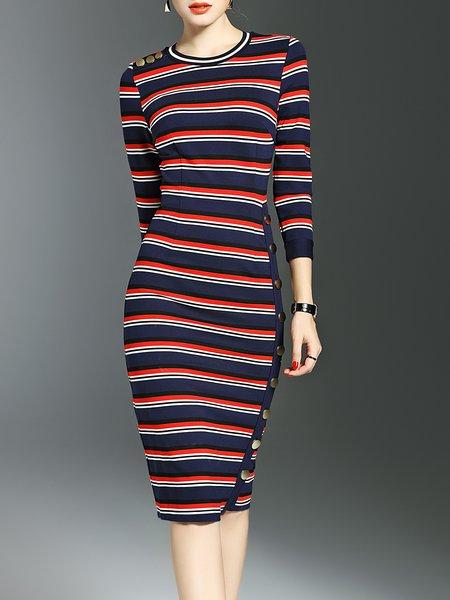 Sheath 3/4 Sleeve Crew Neck Elegant Stripes Midi Dress