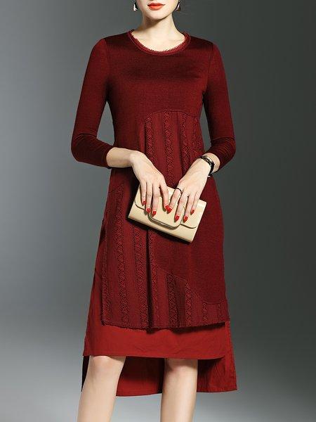 Wine Red Pierced High Low Elegant Midi Dress