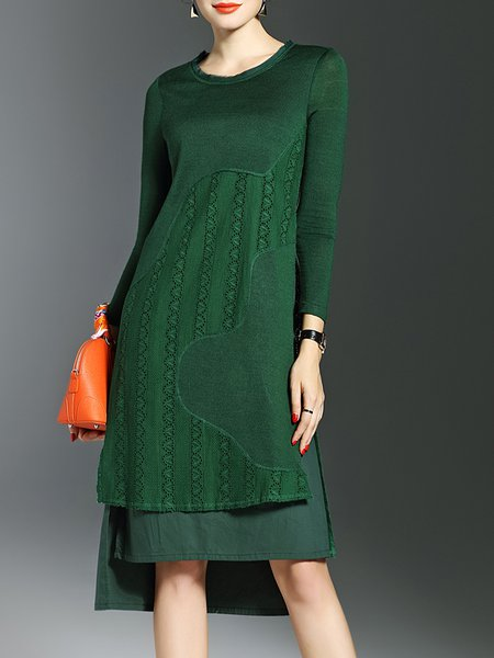 Green Knitted Elegant High Low Midi Dress