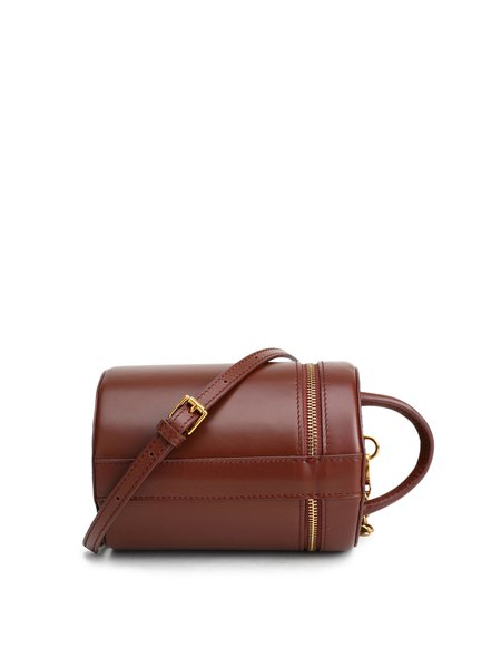Brown Cowhide Leather Magnetic Statement Crossbody