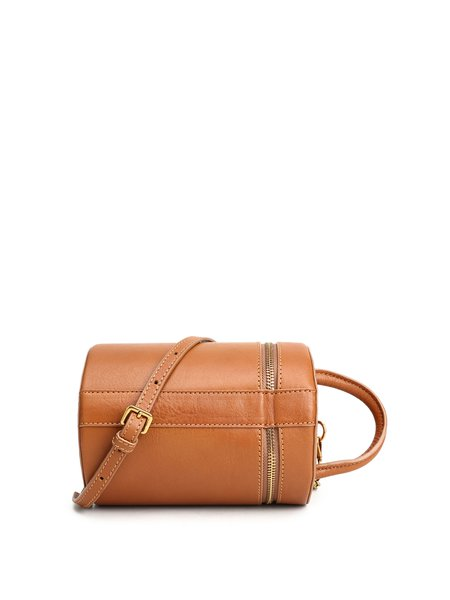 Camel Cowhide Leather Magnetic Crossbody