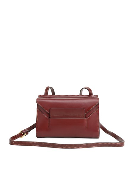 Wine Red Fold-over Flat Top Cowhide Leather Retro Satchel