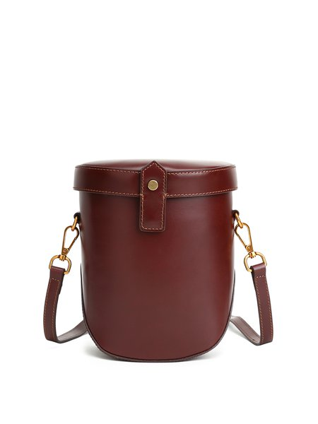 Wine Red Magnetic Cowhide Leather Crossbody