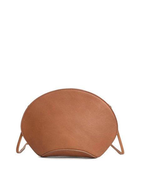 Brown Plain Cowhide Leather Casual Small Crossbody