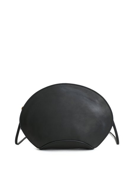 Black Casual Small Plain Cowhide Leather Crossbody