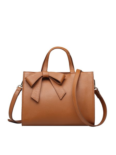 Brown Small Bow Cowhide Leather Satchel
