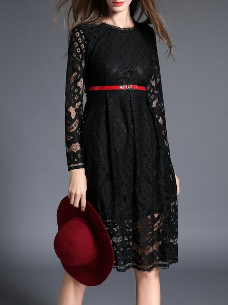 Black Crocheted Lace A-line Long Sleeve Midi Dress