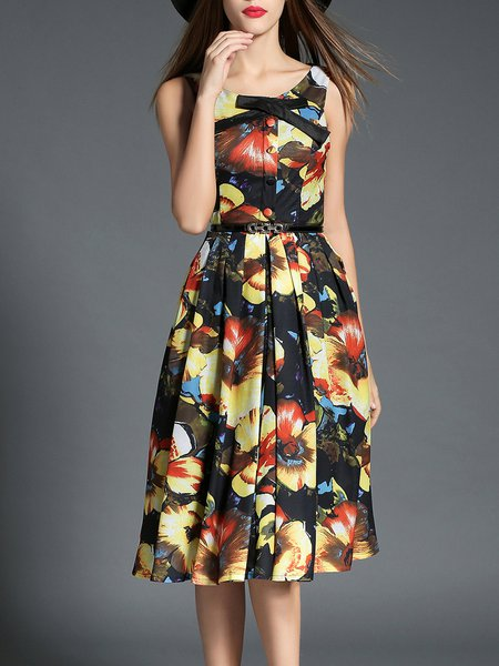Sleeveless Floral-print Vintage Crew Neck Midi Dress