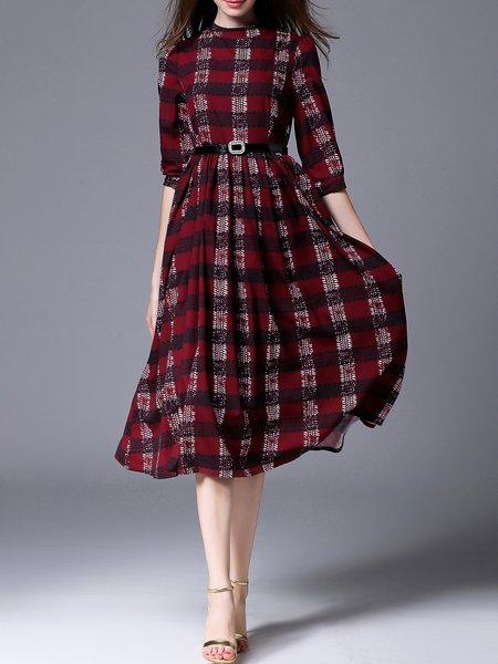 Casual Checkered/Plaid Half Sleeve Crew Neck Midi Dress