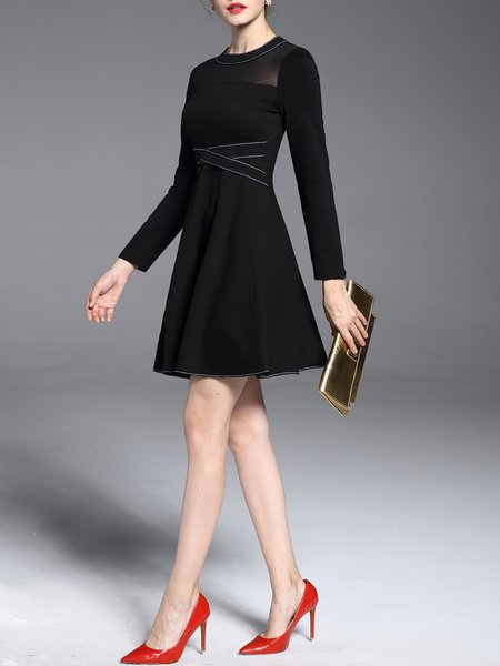Black Elegant Folds Midi Dress