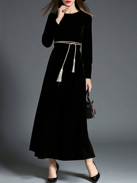 Black Plain A-line Elegant Maxi Dress