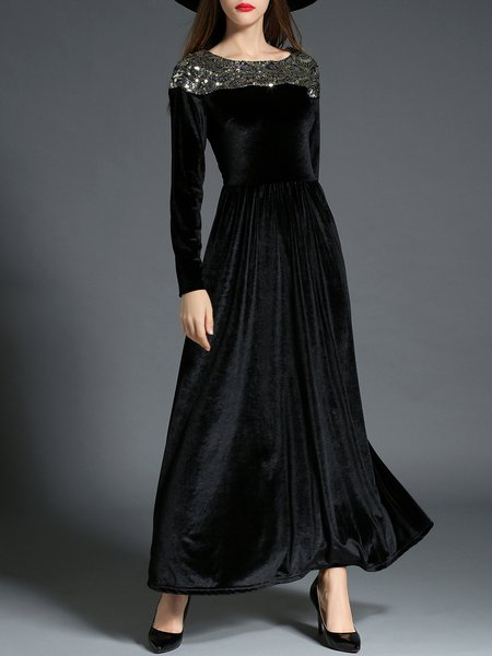 Black Long Sleeve Pleated Sequins Embroidery Maxi Dress