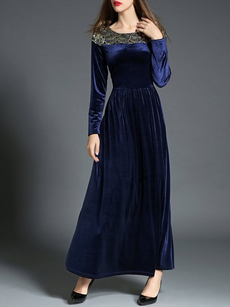 Navy Blue Crew Neck Elegant Pleated Maxi Dress