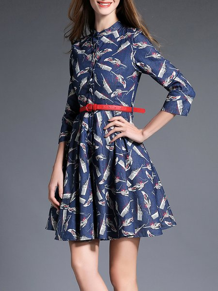 Navy Blue Vintage A-line Printed Midi Dress