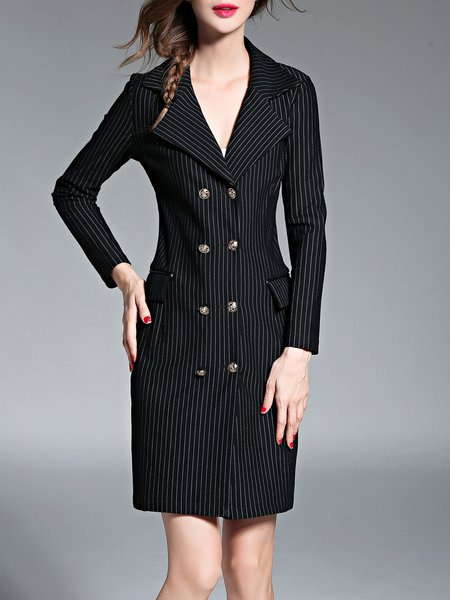 Black Stripes Elegant Lapel Trench Coat