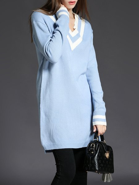 Blue Shift Color-block Casual Sweater