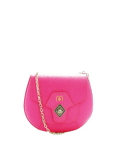 Pink Cowhide Leather Twist Lock Crossbody
