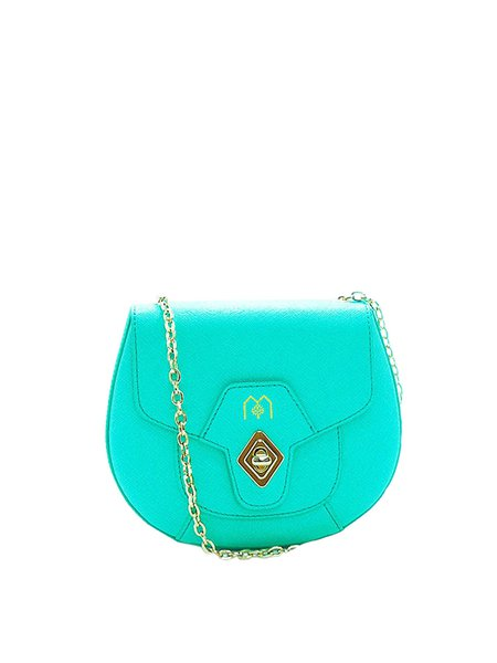 Aqua Blue Twist Lock Cowhide Leather Sweet Crossbody