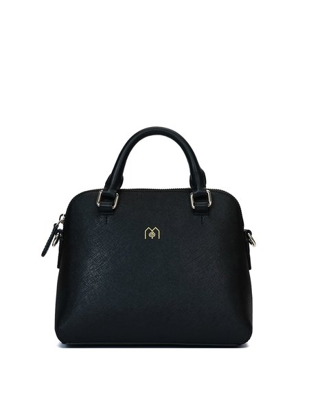 Small Zipper Cowhide Leather Simple Satchel