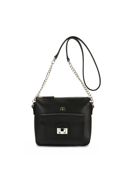 Zipper Casual Cowhide Leather Crossbody Bag