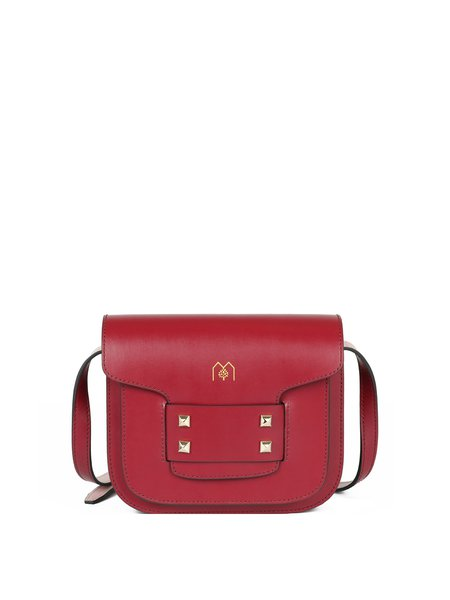 Crimson Casual Cowhide Leather Magnetic Crossbody