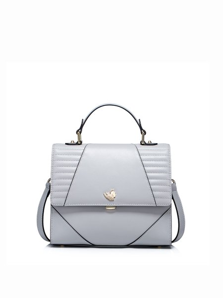Light Gray Casual Cowhide Leather Push Lock Satchel