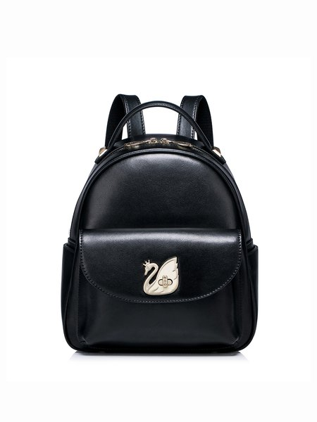 Sweet Cowhide Leather Zipper Small Backpack