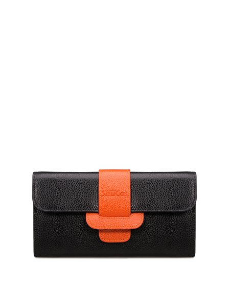 Black Cowhide Leather Casual Buckle Wallet