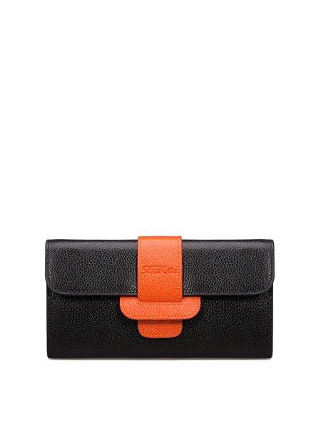 Black Cowhide Leather Casual Buckle Wallet