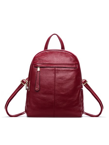 Solid Cowhide leather Zipper Casual Backpack