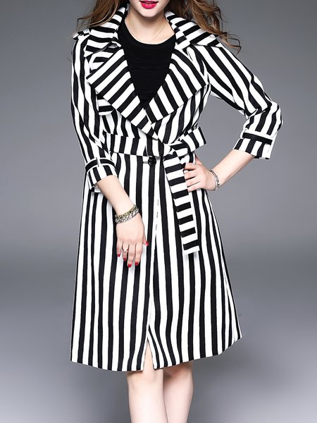 Black Casual Stripes Printed Trench Coat