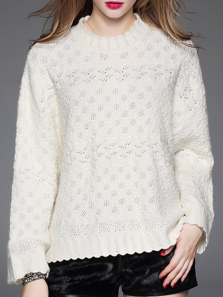 White Plain Casual Wool Blend Pierced Sweater