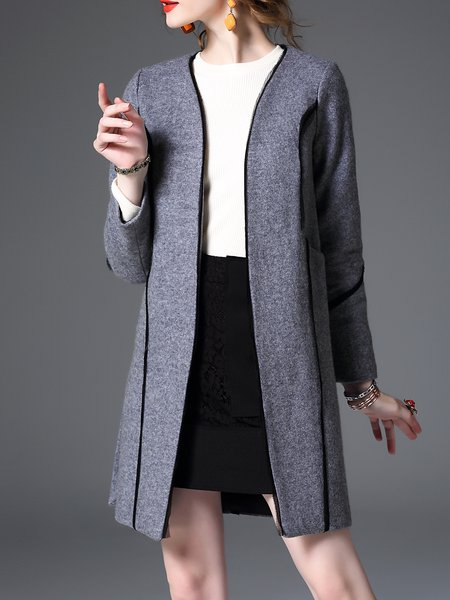 Gray H-line Wool Blend Casual Paneled Coat