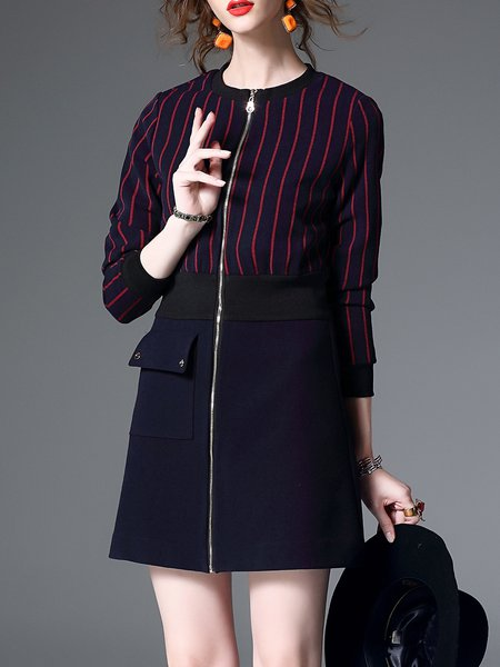 Long Sleeve Casual Wool Blend A-line Crew Neck Mini Dress