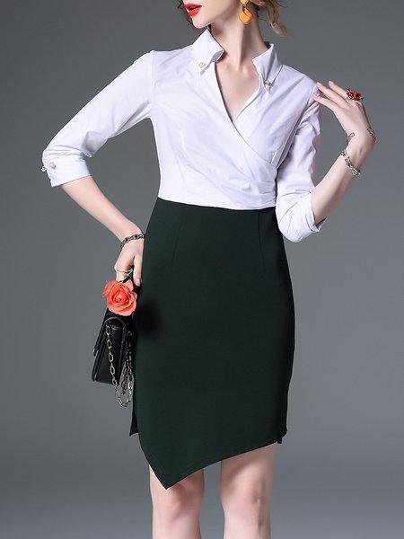 White Asymmetrical Slit Cotton-blend 3/4 Sleeve Midi Dress
