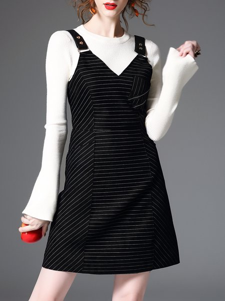 Casual A-line V Neck Spaghetti Paneled Cotton-blend Midi Dress