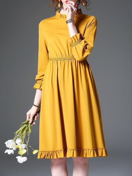 Ruffled 3/4 Sleeve Solid Girly Midi Dress