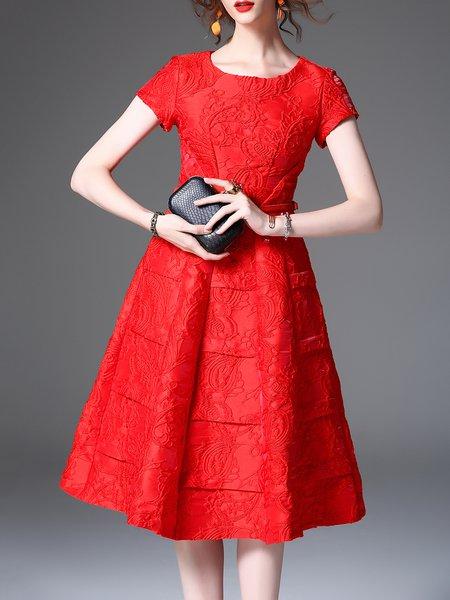 Vintage Jacquard Short Sleeve Cotton-blend Midi Dress