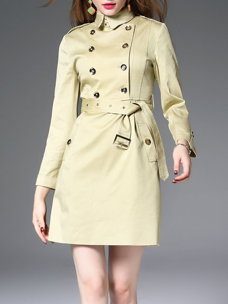 Apricot Buttoned Long Sleeve Mini Dress