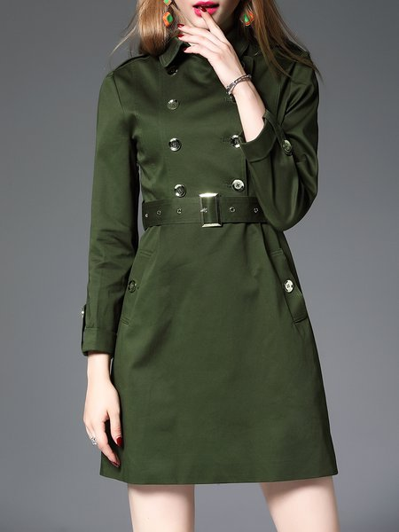 Army Green Plain Buttoned Elegant Mini Dress