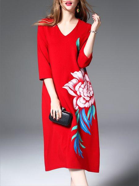 Floral-print Vintage 3/4 Sleeve Midi Dress