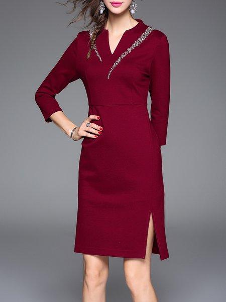 Wine Red Elegant Plain Beaded Sheath Midi Dress